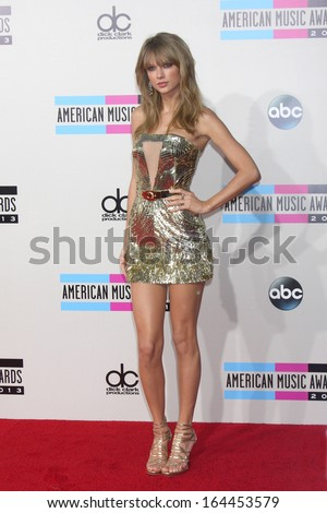 LOS ANGELES - NOV 24:  Taylor Swift at the 2013 American Music Awards Arrivals at Nokia Theater on November 24, 2013 in Los Angeles, CA - stock photo