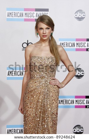 LOS ANGELES - NOV 20: Taylor Swift at the 2011 American Music Awards held at Nokia Theatre L.A. Live on November 20, 2011 in Los Angeles, California - stock photo