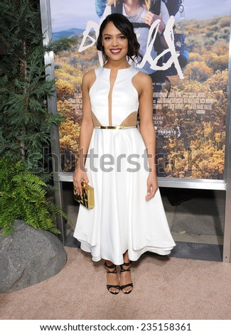 """LOS ANGELES - NOV 19:  Tessa Thompson arrives to the """"Wild"""" Los Angeles Premiere on November 19, 2014 in Beverly Hills, CA                 - stock photo"""