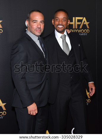 LOS ANGELES - NOV 1:  Will Smith & Peter Landesman arrives to the Hollywood Film Awards 2015 on November 1, 2015 in Hollywood, CA.                 - stock photo