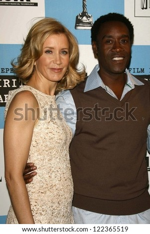 LOS ANGELES - NOVEMBER 28: Felicity Huffman and Don Cheadle at the 2007 Film Independent's Spirit Awards Nominations at Sofitel Hotel on November 28, 2006 in Los Angeles, CA.