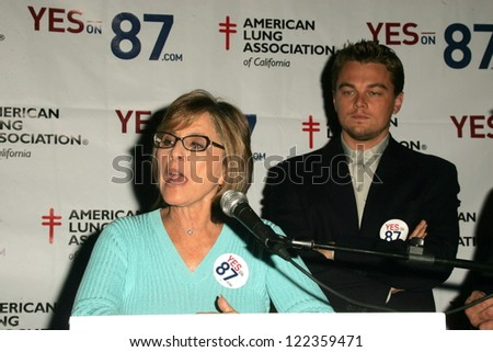 LOS ANGELES - NOVEMBER 5: Leonardo Dicaprio and Barbara Boxer at a press conference to support Proposition 87 at Westside Democratic Office on November 5, 2006 in Los Angeles, CA