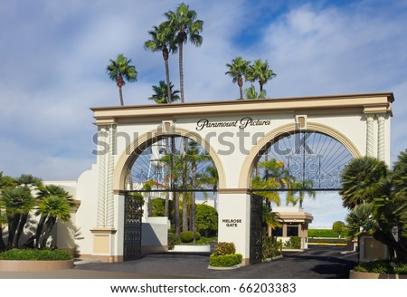 LOS ANGELES-NOVEMBER 27:The main gate to Paramount Studios on November 27, 2010 in Los Angeles. The iconic studio continues filmmaking since 1931 and remains the one actually located in Hollywood. - stock photo