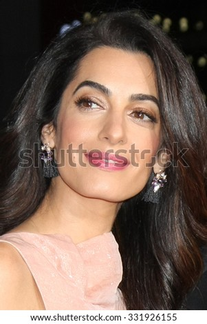 "LOS ANGELES - OCT 26:  Amal Alamuddin Clooney at the ""Our Brand is Crisis"" LA Premiere at the TCL Chinese Theater on October 26, 2015 in Los Angeles, CA - stock photo"