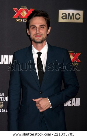 "LOS ANGELES - OCT 2:  Andrew J. West at the ""The Walking Dead"" Season 5 Premiere at Universal City Walk on October 2, 2014 in Los Angeles, CA - stock photo"