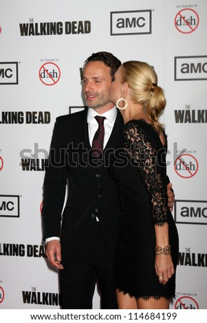 "LOS ANGELES - OCT 4:  Andrew Lincoln, Laurie Holden arrives at ""The Walking Dead"" 3rd Season Premiere Screening at Universal Citywalk on October 4, 2012 in Los Angeles, CA"