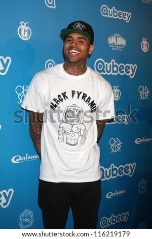 LOS ANGELES - OCT 20:  Chris Brown arrives at  the Qubeeys Chris Brown Channel Launch Event at Private Residence on October 20, 2012 in Beverly Hills, CA - stock photo