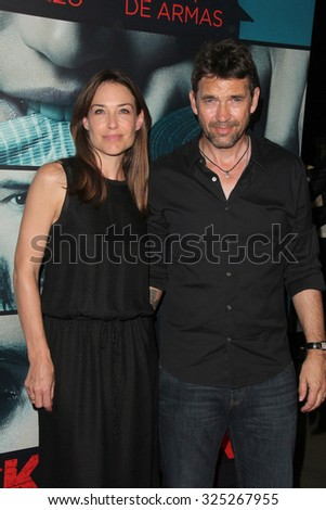 """LOS ANGELES - OCT 7:  Claire Forlani, Dougray Scott at the """"Knock Knock"""" Los Angeles Premiere at the TCL Chinese 6 Theaters on October 7, 2015 in Los Angeles, CA - stock photo"""