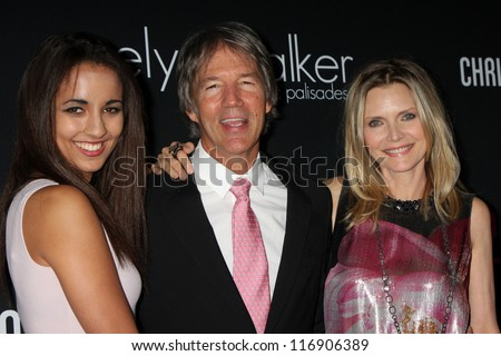 "LOS ANGELES - OCT 26:  Claudia Rose Pfeiffer, Michelle Pfeiffer, David E. Kelley arrives at ""The Pink Party '12"" at Hanger 8 on October 26, 2012 in Santa Monica, CA - stock photo"