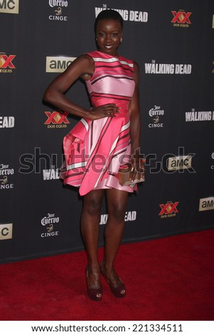 "LOS ANGELES - OCT 2:  Danai Gurira at the ""The Walking Dead"" Season 5 Premiere at Universal City Walk on October 2, 2014 in Los Angeles, CA - stock photo"
