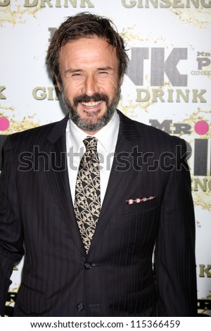 """LOS ANGELES - OCT 11:  David Arquette arrives at the """"Mr. Pink"""" Energy Drink Launch at Beverly Wilshire Hotel on October 11, 2012 in Beverly Hills, CA - stock photo"""