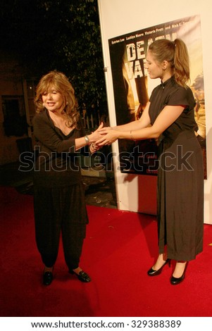 """LOS ANGELES- OCT 17: Dawn Wells and Kristin Naomi Garcia arrives at the """"Death Valley"""" film premiere Oct. 17, 2015 at Raleigh Studios in Los Angeles, CA. - stock photo"""