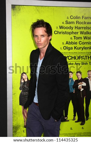 """LOS ANGELES - OCT 30:  Eddie Redmayne  at the """"Seven Psychopaths"""" Premiere at Bruin Theater on October 30, 2012 in Westwood, CA - stock photo"""