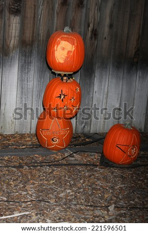 LOS ANGELES - OCT 4:  Elvis Presley Carved Pumpkin at the RISE of the Jack O'Lanterns at Descanso Gardens on October 4, 2014 in La Canada Flintridge, CA - stock photo