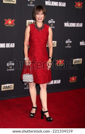 "LOS ANGELES - OCT 2:  Gale Anne Hurd at the ""The Walking Dead"" Season 5 Premiere at Universal City Walk on October 2, 2014 in Los Angeles, CA - stock photo"