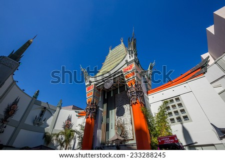 LOS ANGELES - OCT 25: Grauman's Chinese Theatre on October 25, 2014 in Los Angeles, CA. There are nearly 200 Hollywood celebrity handprints, footprints and autographs in the concrete of its forecourt - stock photo