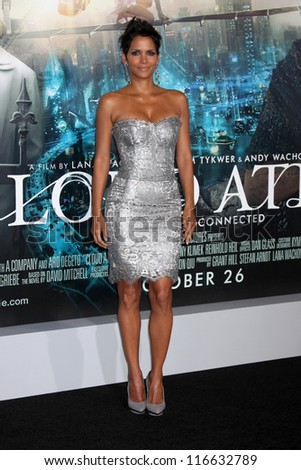 """LOS ANGELES - OCT 24:  Halle Berry arrives at the """"Cloud Atlas""""  Los Angeles Premiere  at Grauman's Chinese Theater on October 24, 2012 in Los Angeles, CA - stock photo"""