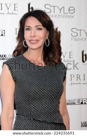 """LOS ANGELES - OCT 15:  Hunter Tylo at the Sue Wong """"Fairies and Sirens"""" Fashion Show at The REEF on October 15, 2014 in Los Angeles, CA - stock photo"""