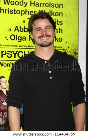 "LOS ANGELES - OCT 30:  Jason Ritter  at the ""Seven Psychopaths"" Premiere at Bruin Theater on October 30, 2012 in Westwood, CA"