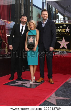 LOS ANGELES - OCT 12:  Jimmy Kimmel, Kelly Ripa, Joel McHale at the Kelly Ripa Hollywood Walk of Fame Ceremony at the Hollywood Walk of Fame on October 12, 2015 in Los Angeles, CA - stock photo