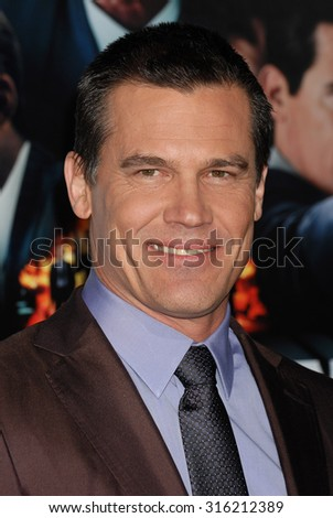 LOS ANGELES - OCT 4:  Josh Brolin arrives at the Gangster Squad World Premiere  on January 7, 2013 in Hollywood, CA              - stock photo