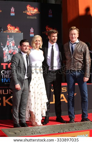 LOS ANGELES - OCT 31: Josh Hutcherson, Jennifer Lawrence, Liam Hemsworth, Conan O'Brien at their Hand and Footprint Ceremony at the TCL Chinese Theater on October 31, 2015 in Los Angeles, CA - stock photo