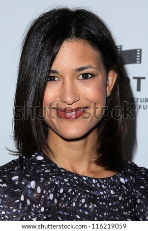 "LOS ANGELES - OCT 20:  Julia Jones arrives at  the ""Reel Stories, Real Lives"" Event at Milk Studios on October 20, 2012 in Los Angeles, CA - stock photo"
