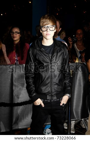 LOS ANGELES - OCT 30:  Justin Bieber arrives at the premiere of 'Megamind' held at the Grauman's Chinese Theater in Los Angeles, California on October 30, 2010. - stock photo