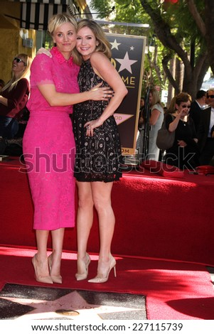 LOS ANGELES - OCT 29:  Kaley Cuoco, Ashley Jones at the Kaley Cuoco Honored With Star On The Hollywood Walk Of Fame at the Hollywood Blvd. on October 29, 2014 in Los Angeles, CA - stock photo
