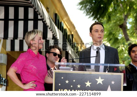 LOS ANGELES - OCT 29:  Kaley Cuoco, Jim Parsons at the Kaley Cuoco Honored With Star On The Hollywood Walk Of Fame at the Hollywood Blvd. on October 29, 2014 in Los Angeles, CA - stock photo