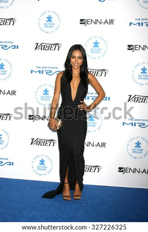 LOS ANGELES - OCT 8:  Karrueche Tran at the Autism Speaks Celebrity Chef Gala at the Barker Hanger on October 8, 2015 in Santa Monica, CA - stock photo
