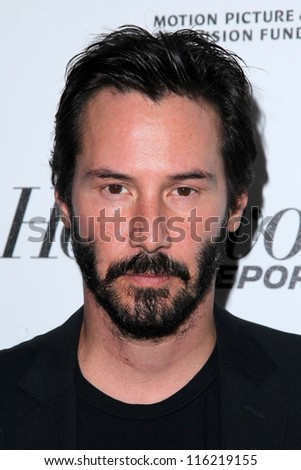 """LOS ANGELES - OCT 20:  Keanu Reeves arrives at  the """"Reel Stories, Real Lives"""" Event at Milk Studios on October 20, 2012 in Los Angeles, CA - stock photo"""