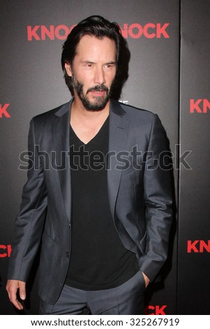 """LOS ANGELES - OCT 7:  Keanu Reeves at the """"Knock Knock"""" Los Angeles Premiere at the TCL Chinese 6 Theaters on October 7, 2015 in Los Angeles, CA - stock photo"""