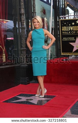 LOS ANGELES - OCT 12:  Kelly Ripa at the Kelly Ripa Hollywood Walk of Fame Ceremony at the Hollywood Walk of Fame on October 12, 2015 in Los Angeles, CA - stock photo