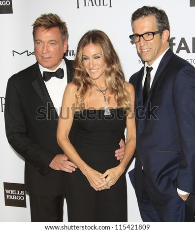 LOS ANGELES - OCT 11: Kevin Huvane, Sarah Jessica Parker, Kenneth Cole at amfAR's Inspiration Gala at Milk Studios on October 11, 2012 in Los Angeles, California. - stock photo