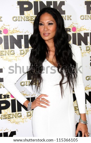 "LOS ANGELES - OCT 11:  Kimora Lee Simmons arrives at the ""Mr. Pink"" Energy Drink Launch at Beverly Wilshire Hotel on October 11, 2012 in Beverly Hills, CA - stock photo"