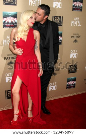 "LOS ANGELES - OCT 3:  Lady Gaga, Taylor Kinney at the ""American Horror Story: Hotel"" Premiere Screening at the Regal 14 Theaters on October 3, 2015 in Los Angeles, CA - stock photo"