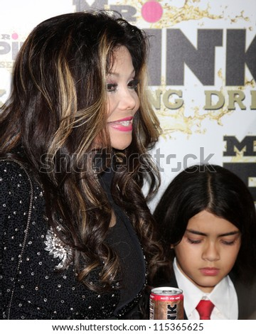 "LOS ANGELES - OCT 11:  LaToya Jakson, Blanket Jackson arrives at the ""Mr. Pink"" Energy Drink Launch at Beverly Wilshire Hotel on October 11, 2012 in Beverly Hills, CA - stock photo"
