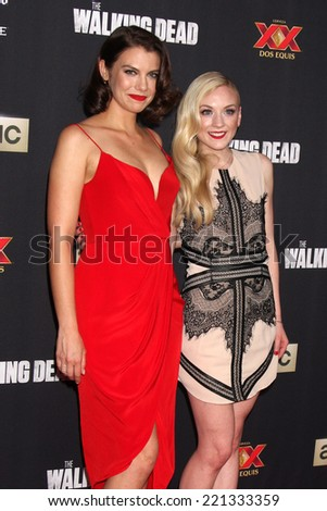 "LOS ANGELES - OCT 2:  Lauren Cohan, Emily Kinney at the ""The Walking Dead"" Season 5 Premiere at Universal City Walk on October 2, 2014 in Los Angeles, CA - stock photo"