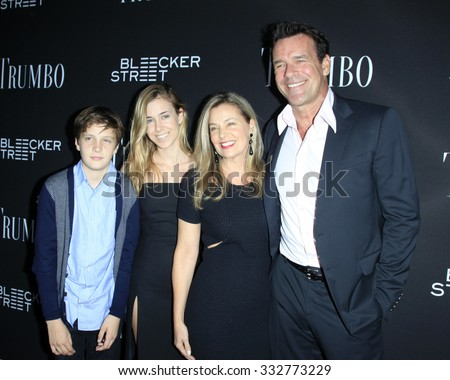 "LOS ANGELES - OCT 27:  Nanci Chambers, David James Elliott, Stephanie Smith, Wyatt Smith at the ""Trumbo"" Premiere at the Samuel Goldwyn Theater on October 27, 2015 in Beverly Hills, CA - stock photo"