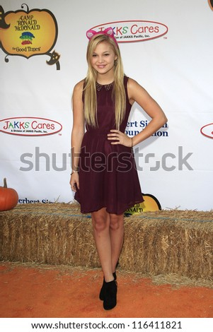 LOS ANGELES - OCT 21: Olivia Holt at the Camp Ronald McDonald for Good Times 20th Annual Halloween Carnival at the Universal Studios Backlot on October 21, 2012 in Los Angeles, California - stock photo