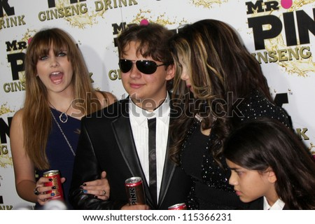 "LOS ANGELES - OCT 11:  Paris Jackson, Prince Michael Jackson, LaToya Jackson, Blanket Jackson arrives at the ""Mr. Pink""  Launch at Beverly Wilshire Hotel on October 11, 2012 in Beverly Hills, CA - stock photo"