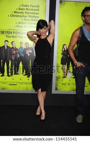 "LOS ANGELES - OCT 30:  Perrey Reeves  at the ""Seven Psychopaths"" Premiere at Bruin Theater on October 30, 2012 in Westwood, CA - stock photo"