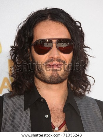 LOS ANGELES - OCT 23:  RUSSELL BRAND arrives to the 2010 MTV Movie Awards  on June 06,2011 in Los Angeles, CA