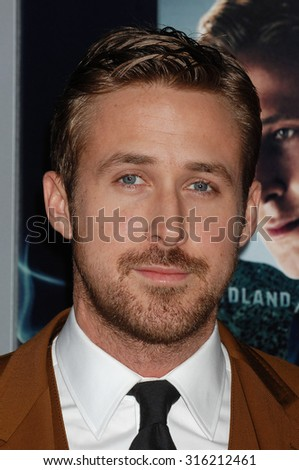 LOS ANGELES - OCT 4:  Ryan Gosling  arrives at the Gangster Squad World Premiere  on January 7, 2013 in Hollywood, CA              - stock photo