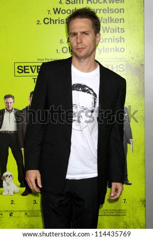 "LOS ANGELES - OCT 30:  Sam Rockwell  at the ""Seven Psychopaths"" Premiere at Bruin Theater on October 30, 2012 in Westwood, CA - stock photo"