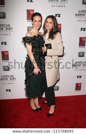 "LOS ANGELES - OCT 13:  Sarah Paulson, Amanda Peet arrives at the ""American Horror Story: Asylum"" Premiere Screening at Paramount Theater on October 13, 2012 in Los Angeles, CA - stock photo"