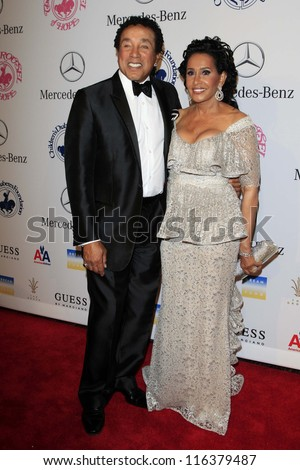 LOS ANGELES - OCT 20:  Smokey Robinson, wife Frances arrives at  the 26th Carousel Of Hope Ball at Beverly Hilton Hotel on October 20, 2012 in Beverly Hills, CA