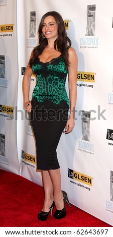 LOS ANGELES - OCT 8:  Sofia Vergara arrives at the Gay, Lesbian and Straight Education Network  Respect Awards at Beverly Hills Hotel Theatre on October 8, 2010 in Beverly Hills, CA - stock photo