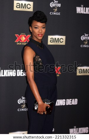 """LOS ANGELES - OCT 2:  Sonequa Martin-Green at the """"The Walking Dead"""" Season 5 Premiere at Universal City Walk on October 2, 2014 in Los Angeles, CA - stock photo"""